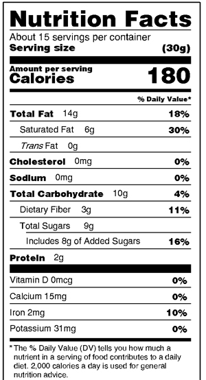 Dark Pecan Bark Nutrition Facts
