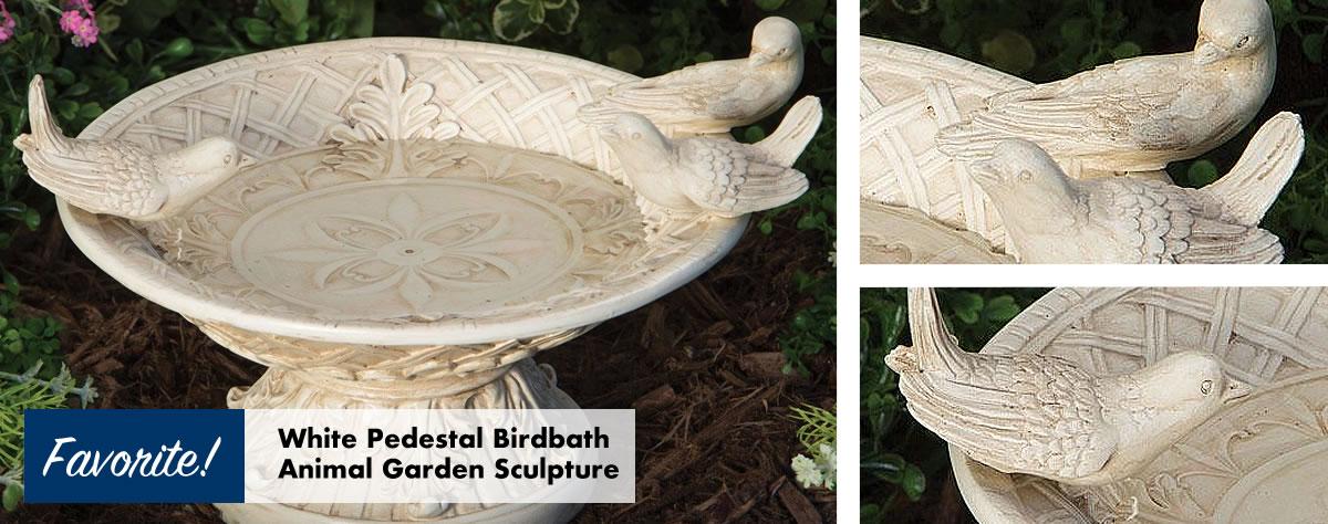 White Pedestal Birdbath Animal Garden Sculpture