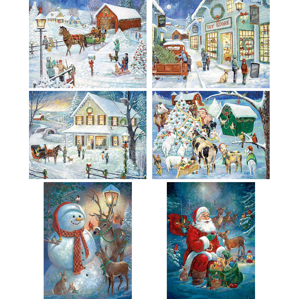 7c62a83e419d Set of 6: Ruane Manning Holiday 1000 Piece Jigsaw Puzzles | Bits and Pieces