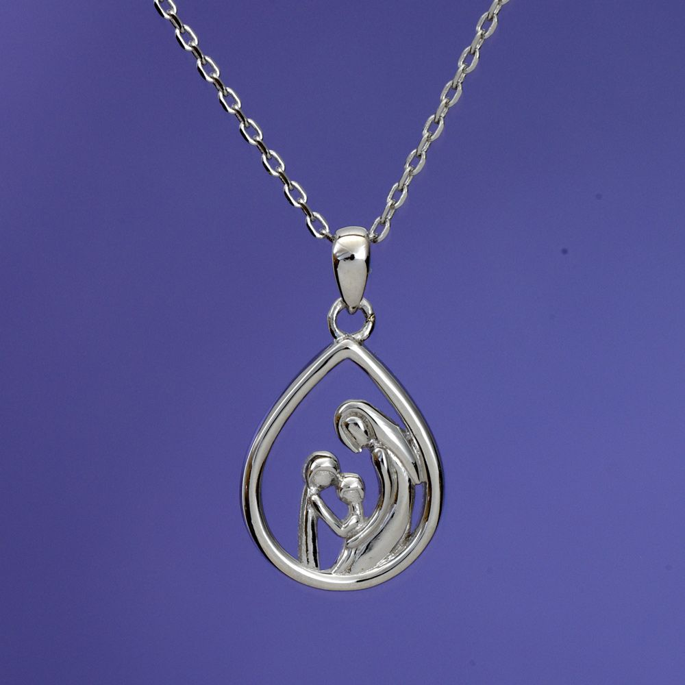 Mother & Two Children - Mother and Child Sterling Pendant ...
