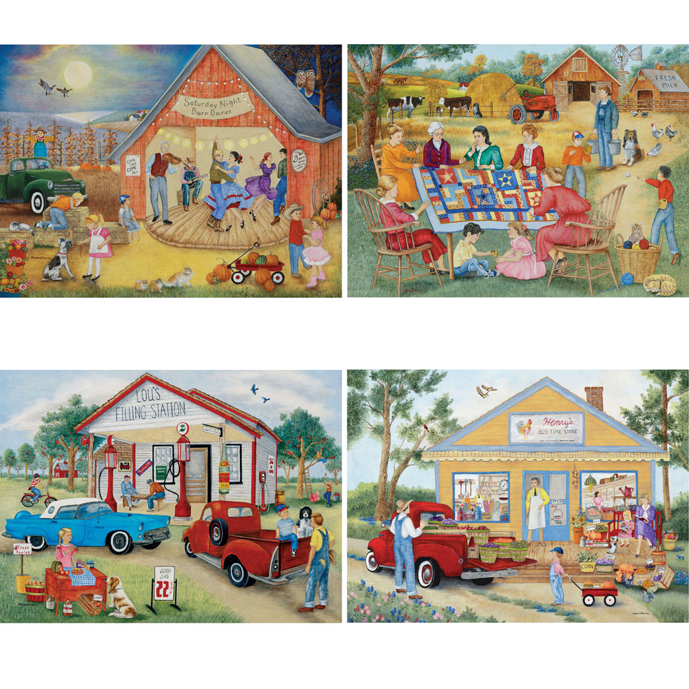 Friendly Folk 1000 Piece 4 In 1 Multi Pack Puzzle Set Bits And Pieces