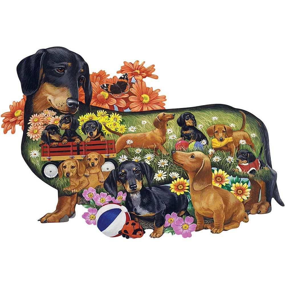 02a42558e8 Delightful Dachshunds Dog Breed 750 Piece Shaped Jigsaw Puzzle | Bits and  Pieces