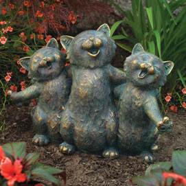 Singing Kittens Garden Statue