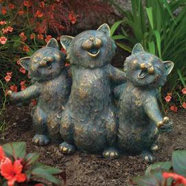 Singing Kittens Garden Statue