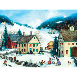 Winter Fun In Village 1000 Piece Jigsaw Puzzle