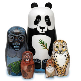 Endangered Species Animal Nesting Doll Set