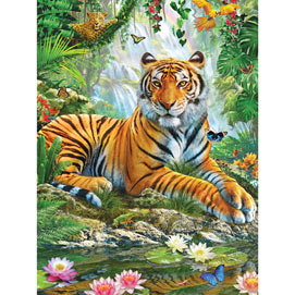 Tiger on a Rock 300 Large Piece Jigsaw Puzzle