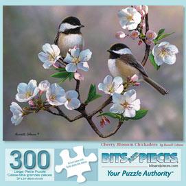 Cherry Blossom Chickadees 300 Large Piece Jigsaw Puzzle