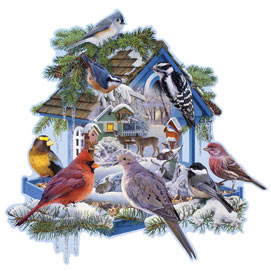 Winter Bird Feeder 750 Piece Shaped Jigsaw Puzzle