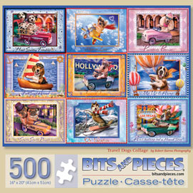 Travel Dogs Collage 500 Piece Jigsaw Puzzle