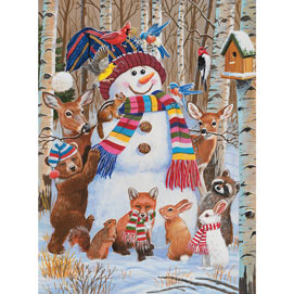 Forest Animals Decorating A Snowman 1000 Piece Jigsaw Puzzle