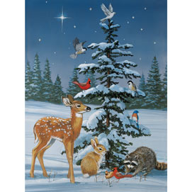 Snowy Christmas Gathering 1000 Piece Jigsaw Puzzle