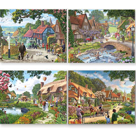 Village Life 4-in-1 Multi-Pack 500 Piece Puzzle Set
