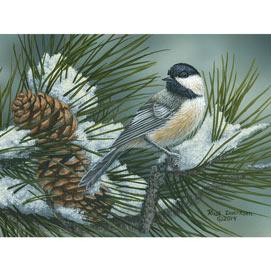Pine Tree Chickadees 500 Piece Jigsaw Puzzle