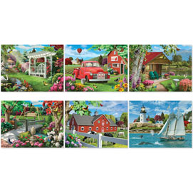 Set of 6: Alan Giana 300 Large Piece Jigsaw Puzzles
