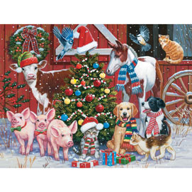 Festive Farm Friends 300 Large Piece Jigsaw Puzzle