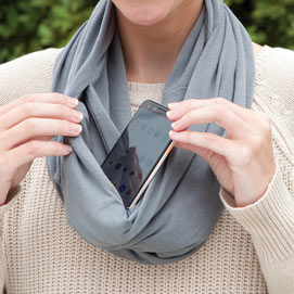 Infinity Secret Pocket Scarf - Gray