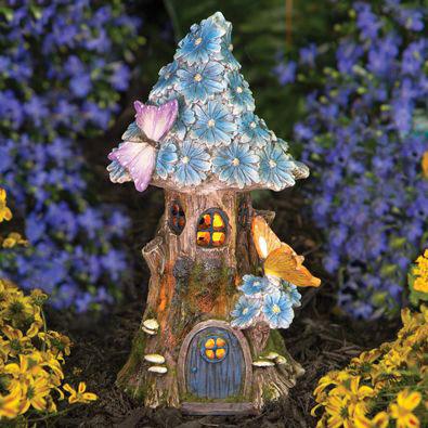 Solar Butterfly & Blue Daisies Fairy House