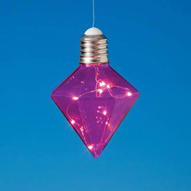 Hanging LED Diamond Light Bulb - Pink