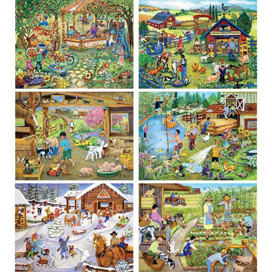 Set of 6: Sandy Rusinko 300 Large Piece Jigsaw Puzzles