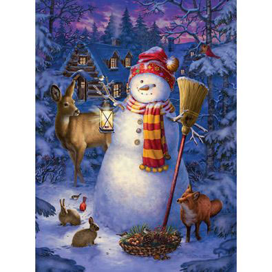 Night Watch Snow Man 300 Large Piece Glow-In-The-Dark Jigsaw Puzzle
