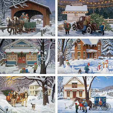 Set of 6: John Sloane Country Series 1000 Piece Jigsaw Puzzles