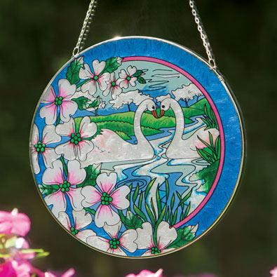 Swans Art Glass Suncatcher