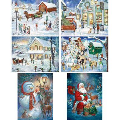 Set of 6: Ruane Manning Holiday 300 Large Piece Jigsaw Puzzles