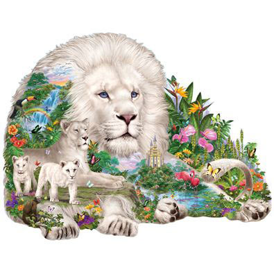 Dream of The White Lions 300 Large Piece Shaped Jigsaw Puzzle