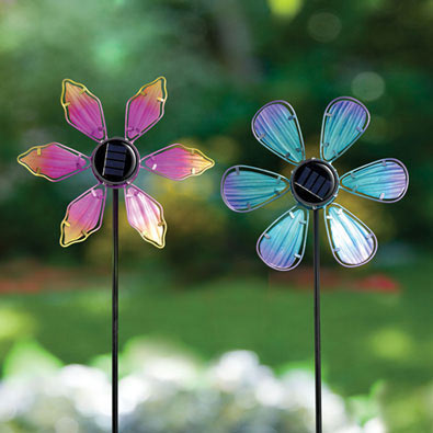 Set of 2: Solar Blue And Pink Coneflower Spinner Stakes
