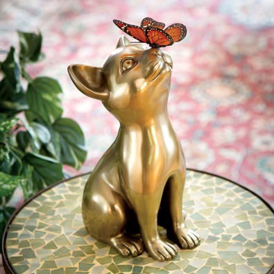 Brass Cat and Butterfly