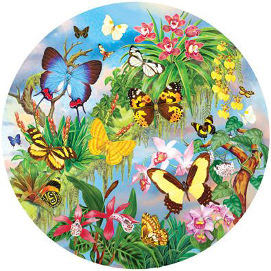 South American Butterflies 300 Large Piece Round Jigsaw Puzzle