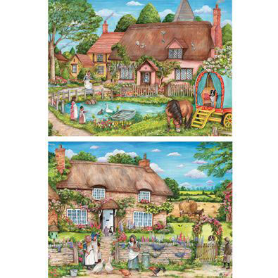 Set of 2: Fun In The Countryside 1000 Piece Jigsaw Puzzles