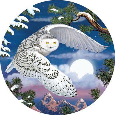 Snowy Owl 1000 Piece Round Jigsaw Puzzle