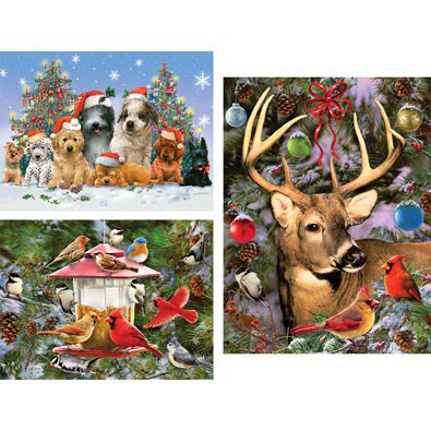 Set of 3: Holiday Company 300 Large Piece Jigsaw Puzzles