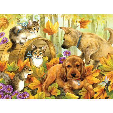 Playing In The Leaves 300 Large Piece Jigsaw Puzzle