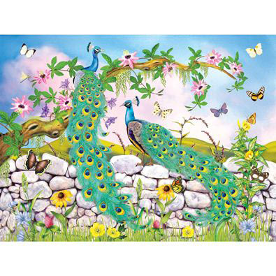 Two Peacocks 300 Large Piece Jigsaw Puzzle