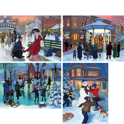 Set of 4: Winter's Wonderful Magic 300 Large Piece Jigsaw Puzzles