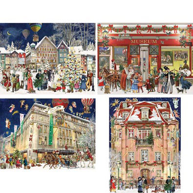 Set of 4: Barbara Behr Christmas 300 Large Piece Jigsaw Puzzles