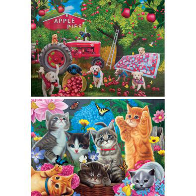 Set of 2: Playtime In The Garden And Farmhands 500 Piece Jigsaw Puzzles