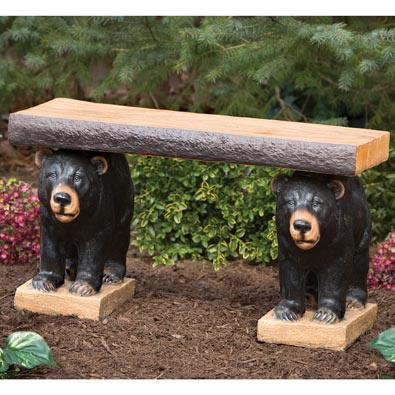 Bear Pair Bench Garden Sculpture