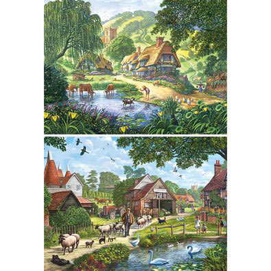 Set of 2 : English Charm 1000 Piece Jigsaw Puzzles