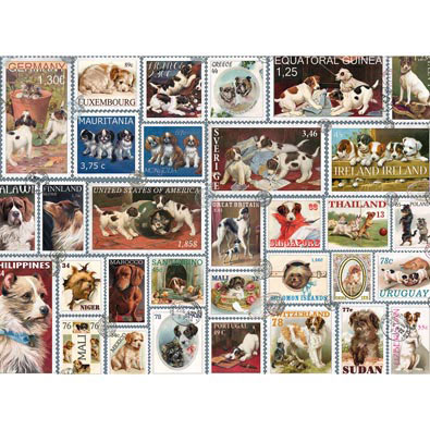 Dog Stamps Quilt 1000 Piece Jigsaw Puzzle