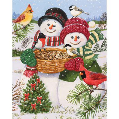 Snow Couple Feeding The Birds 200 Large Piece Jigsaw Puzzle