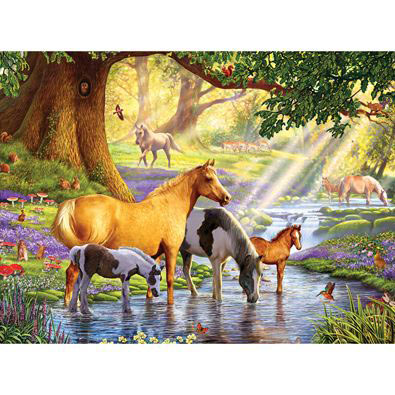 Horses By The Stream 1000 Piece Jigsaw Puzzle