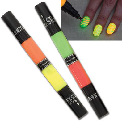 S/2 Neon Glow In The Dark Nail Art Pens