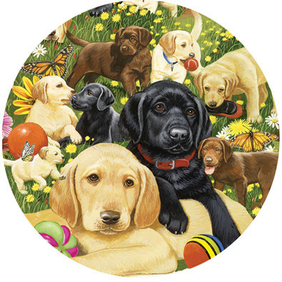 Lab Puppies Playing 500 Piece Round Puzzle