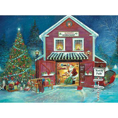 Santa's Workshop 1000 Piece Glow-In-The-Dark Jigsaw Puzzle