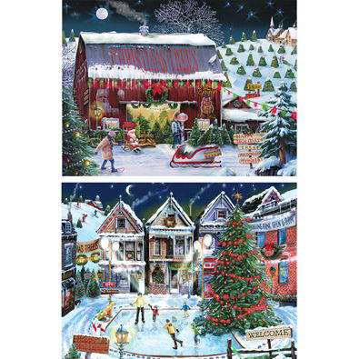 Set of 2: Holiday Nights 500 Piece Jigsaw Puzzles