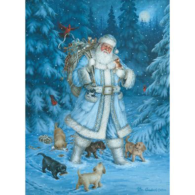 Santa's Winter Walk 1000 Piece Glitter Effects Jigsaw Puzzle